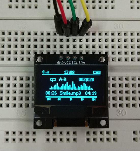 0 96 inch OLED module blue-yellow on black white on black Arduino